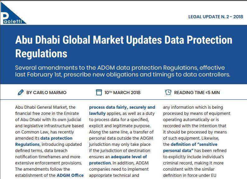 Abu Dhabi Global Market Updates Data Protection Regulations